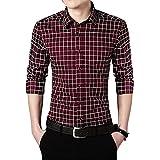 HDDFG Camisa para hombre de talla grande 5XL Camisa informal para hombre Camisa a cuadros de manga larga Camisas para hombre Ropa masculina (Color : Red, Size : 5XL code)