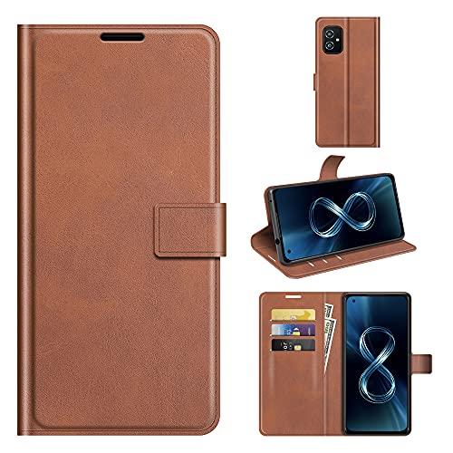 Custodia® Capirotazo Billetera Funda Compatible para ASUS Zenfone 8/ASUS Zenfone 8 Mini (Marrón)