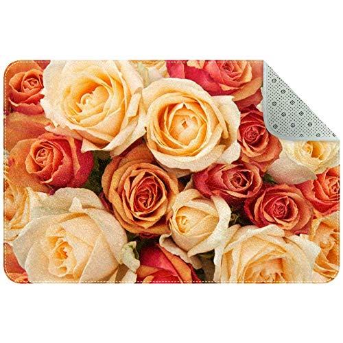 Lorvies Teppich mit orangefarbenen und pfirsichfarbenen Rosen für Wohnzimmer, Schlafzimmer, 61 x 40,6 cm, Polyester, multi, 60x40cm/24x16in