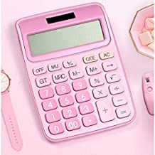 RTTRY 12 Digit Desk Calculator Large Buttons Financial Business Accounting Tool Pink Blue Black Big Buttons Battery and So...