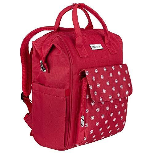 anndora City Rucksack rot weiß gepunktet inkl. Laptopfach Polyester