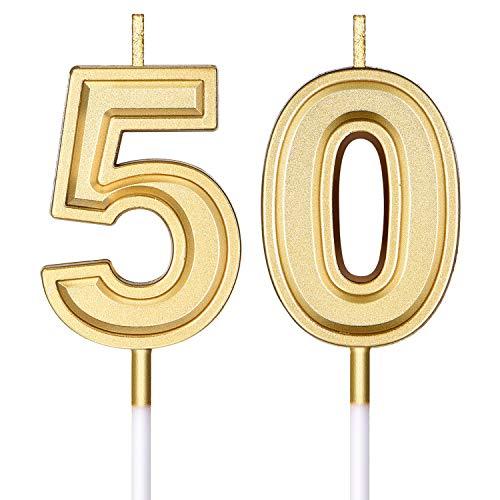 Candele di Compleanno 50 ° Candele di Numero di Torta Candele di Torta di Buon Compleanno Decorazione di Topper per Compleanno Nozze Anniversario Celebrazione Forniture (Oro)