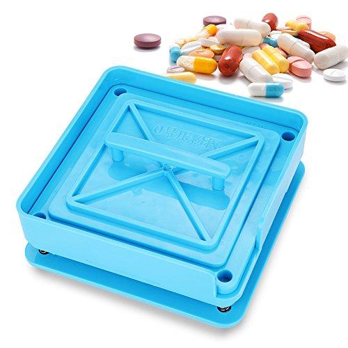 Kapselfüller,Kapsel Manuelles Füllwerkzeug mit 100 Löcher aus Kunststoff für Krankenhaus, Labor und Familie usw.(Blau)