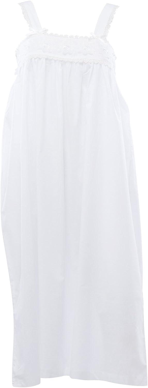 Waite Ltd Ladies Floral Lace Nightdress Womens 100% Cotton Sleeveless Shirred Detail Nightie (White)