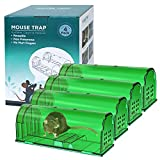 4 Large Humane Mouse Traps No Kill, Live Rat Trap, Reusable Mice Trap Catch Indoor & Outdoors(7.81 x 2.92 x 3.01inch)