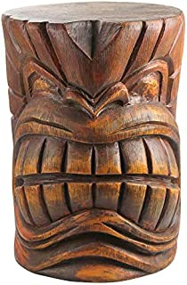 Design Toscano The Grande Tiki God Kanaloa Teeth Side Table Statue, 20 Inch, Polyresin, Woodtone