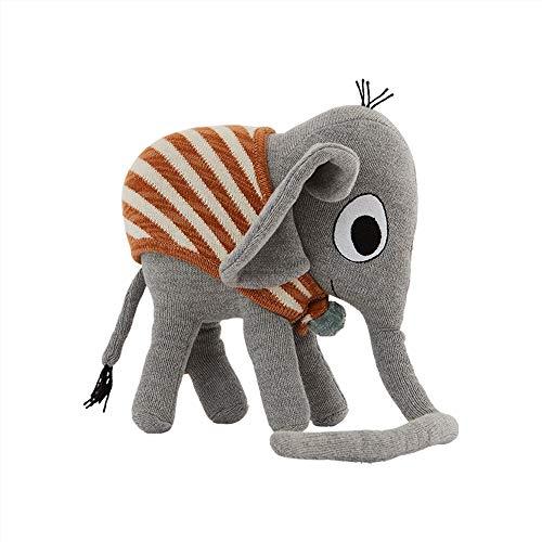OYOY Mini - Deko Kissen Kinder Elefant Henry Grau - Außen Baumwolle Innen Recycled Polyester nach Ökotex - Weich & Kuschelig - 23x22x12 cm