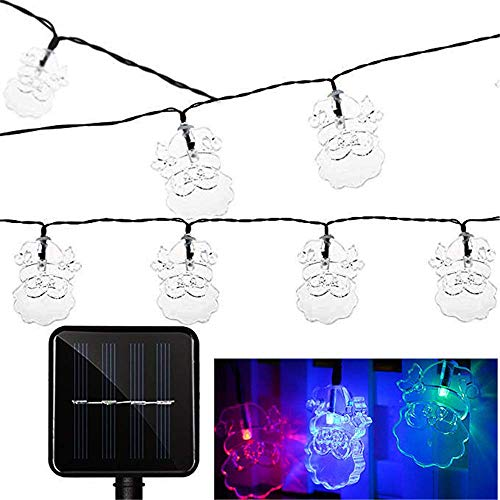 Solarlicht Santa Claus String, 6m 30 LED Solar String Lichter, Beleuchtungszeit 6~8 Stunden, 2-Modus IP65 wasserdicht, Gartenhaus Party Mehrfarbig Ideal für DIY