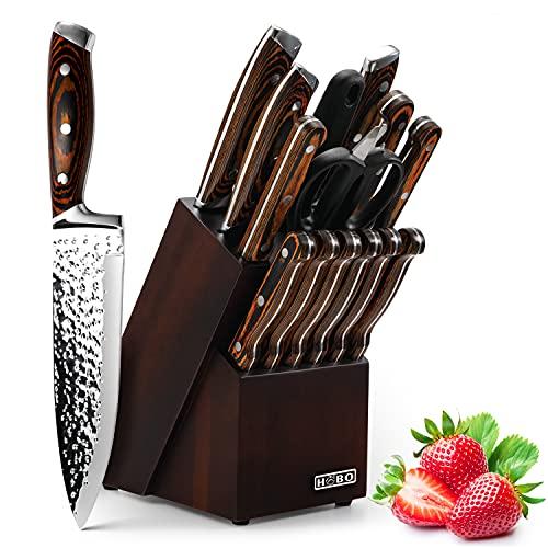 HOBO Messerset, Messerblockset 15 Stück, Küchenmesserset mit Santokumesser Kochmesser Brotmesser Schälmesser Steakmesser Anspitzer, Japanische...