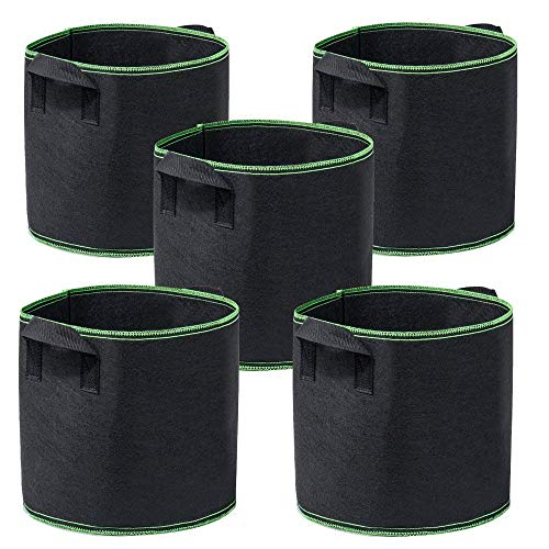 Garden4Ever 5-Pack 10 Gallon Grow Bags Heavy Duty Container...