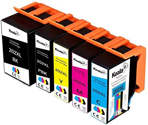 Koala - 5 cartuchos compatibles para Epson 202XL 202 XL 202 para Epson Expression Premium XP-6000 XP-6005 XP-6100 XP-6105 (1 negro, 1 foto negro, 1 cian, 1 magenta, 1 amarillo.