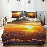Juego de funda nórdica beige, con estampado de paisaje de la naturaleza puesta de sol en las nubes, juego de cama decorativo de 3 piezas con 2 fundas de almohada de fácil cuidado antialérgico suave su