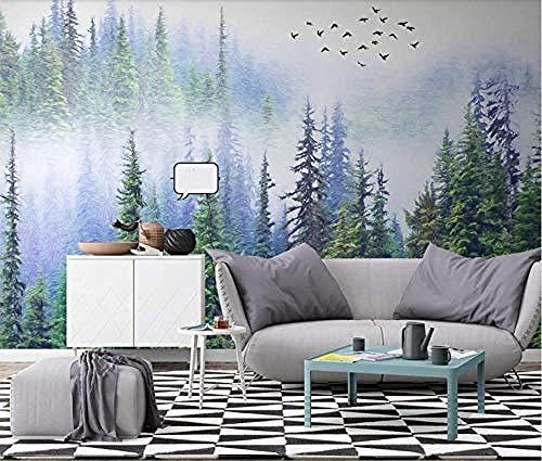 Papier peint intissé tapisserie murales panoramique 3D Misty Pine Forest Papier Peint Oiseau Murale Photo Papiers Peints Papier Peint Muraux Décoration de Luxe Maison Brumeuse Contact Peinture sur P