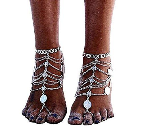 1 accoppiamenti Boho Vintage Silver Coin Blessing Simbolo nappa Calze piede per le donne nappa catena Gioielli Bohemian…