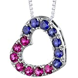 Peora Created Ruby and Created Blue Sapphire Heart Pendant Necklace in 925 Sterling Silver with 18 inch Chain