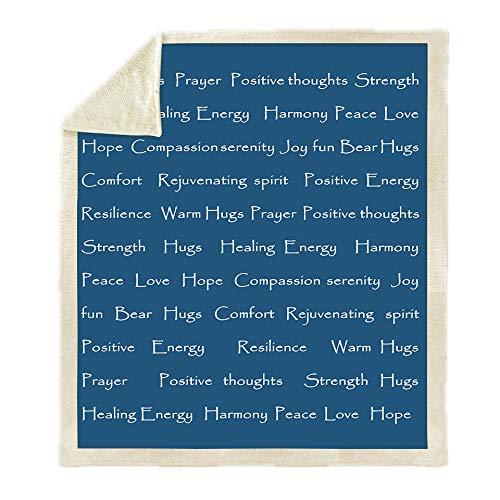 Deken, beddengoed in warme 3D-druktoek, donkerblauw, eenvoudige Engelse woorden, pluizig zachte fleece-deken, Sherpa flanel pluche deken voor afdekking slaapbank, 51.18 × 59,05 in (130 × 150 C