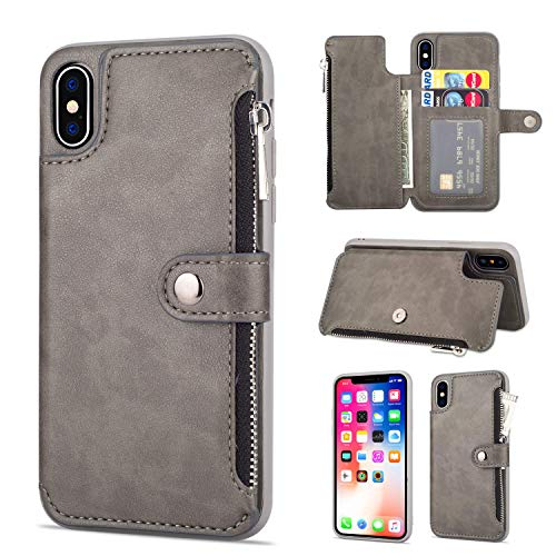 Jennyfly iPhone Xs Mas Wallet Cover, Fashion Button Magnetic Closure Wallet Design Premium Durable Leather Zipper Protective Cover with Card Slots & Money Pocket for iPhone Xs Mas 6.5 Inch - Gray