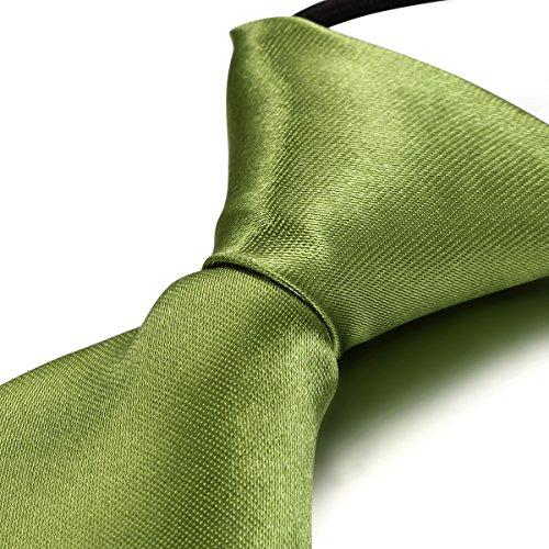 JewelryWe Kinder Krawatte mit Gummiband Schlips Binder Anzug Slim Tie Slips für Jungen Mädchen, Farbe Rasengrün