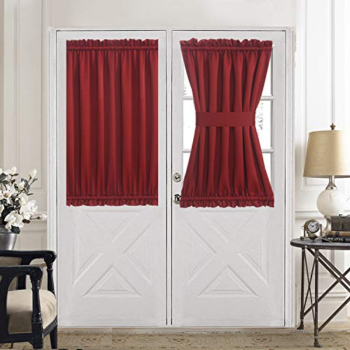Aquazolax Blackout Door Window Curtains Elegant Privacy - One Piece, W54 x L40-Inch, Red