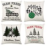 Arokibui Farmhouse Christmas Throw Pillow Covers 18x18 Set of 4 Black and White Plaid Winter Holiday Throw Pillows for Sofa Couch Tree Truck Christmas Pillow Covers Christmas Decorations