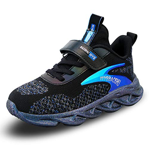 Niño Zapatillas de Unisex Niños Respirable Casual Zapatos de Deporte para Correr Trotar Bádminton Azul 2 33 EU