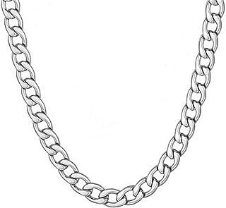 WELRDFG سلسلة الرجال 7 مم الكلاسيكية كوبية كبح سلسلة الهيب هوب مجوهرات الفولاذ المقاوم للصدأ / 18 كيلو قلادة مطلية بالذهب