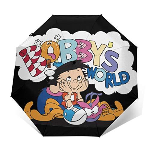 Paraguas plegables Bobby'S World Bobby & Webbly Paraguas de viaje plegables paraguas duradero a prueba de viento a prueba de viento ligero impermeable de impresión de moda