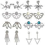8 pares de aretes para mujeres y niñas, con diseño de flor de loto hueca, pendientes de cristal simple y chic