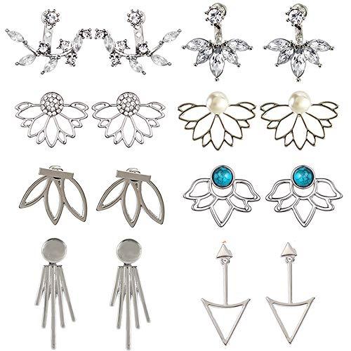 8 paia Orecchini a forma di fiore di loto chic di cristallo Orecchini a bottone semplice chic di cristallo