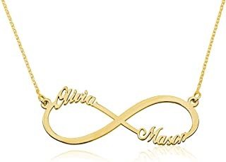 Infinity Name Necklace - Custom Made with Any Two Names- 925 Sterling Silver Plated in 18k Gold