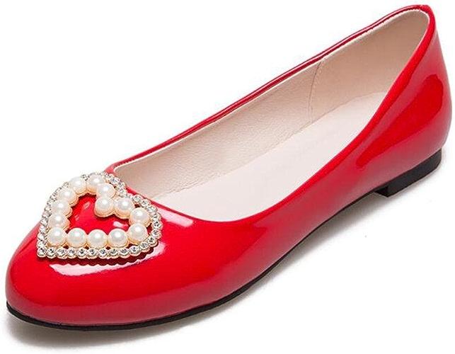 OL Flat Loafers Décoration de perles artificielles En forme d'ahommede Toe Simple Sandales Casual EU Taille personnalisée 31-47
