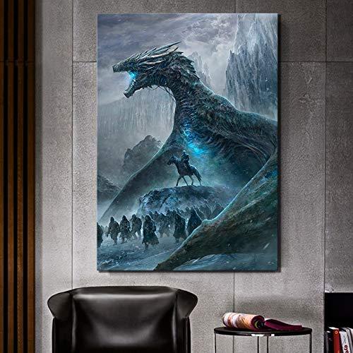 N-A 1 Stück HD Bilder Game of Thrones Movie Poster Gemälde Zombies Drachen Bild Leinwandgemälde Wand-Kunst for Hauptdekor (Size (Inch) : 50cmx70cm)