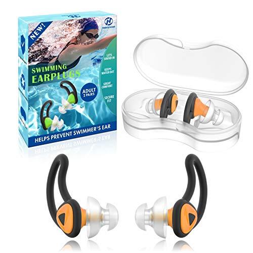 Hearprotek 2 Paare Schwimmer Ohrstöpsel, Verbessertes Silikon Passgenauer Wasserschutz Schwimmohrstöpsel für Schwimmer Becken Duschbad und andere Wassersportarten(Orange)