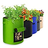 10 Gallon 5 Pack Potato Grow Bags, IPOW Plant Grow Bags Garden...