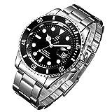 Reloj de pulsera para hombre, resistente al agua, de acero inoxidable, analógico, de cuarzo, para hombres, de negocios, casual, unisex, para adultos, para hombres, negro, Pulsera