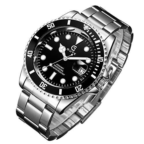 Herrenuhren Chronograph Wasserdicht Edelstahl Analog Quarzuhr Herren Business Casual Date Armbanduhr für Herren