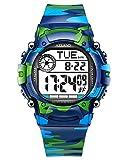 AZLAND 7 Colors Flashing, 3 Multiple Alarms Reminder Sports Kids Wristwatch Waterproof Boys Girls...