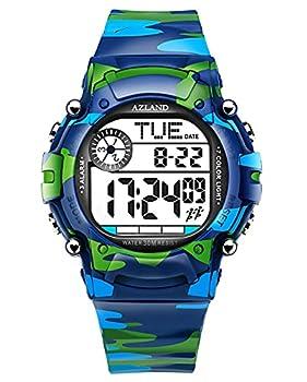 AZLAND 7 Colors Flashing 3 Multiple Alarms Reminder Sports Kids Wristwatch Waterproof Boys Girls Digital Watches  Camo