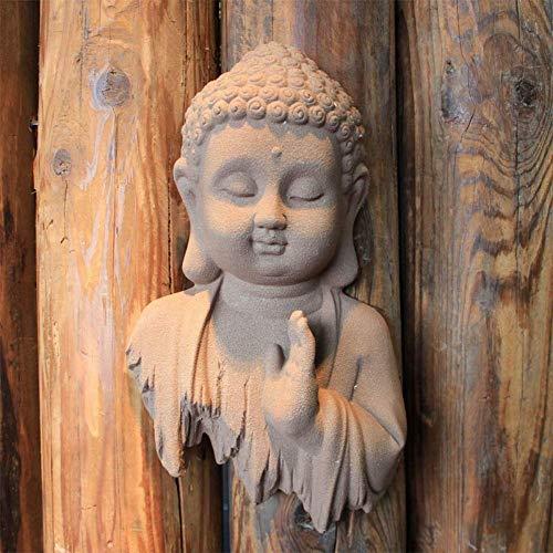 LKJH Buddha Wall Hanging Cute Buddha Statue,Indoor Outdoor Decor for Garden,Patio Deck Porch Yard Art Decoration B 20x30cm(8x12inch)