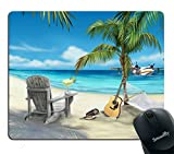 island mouse pad - Smooffly Beaches Mouse Pad Custom,Island Animals Animated Paradise Island Guitar on The Beach Personality Gaming Mouse Pad