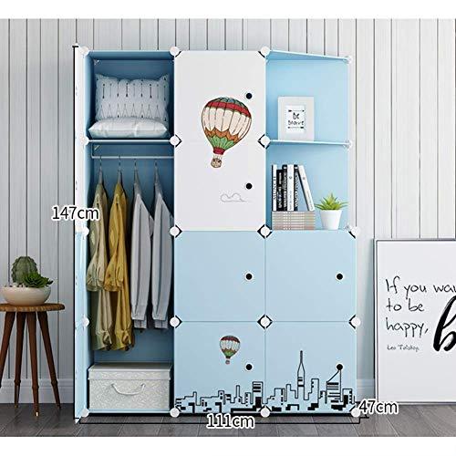 Equipo para el hogar Armario para niños Armario Organizador Armario portátil de resina para dormitorio Armario de dibujos animados lindo Cubo modular para niños Cómoda-h L75xw47xh183cm (30x19x72inc