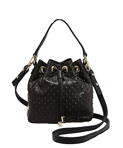 MILLY Perry Dot Mini Drawstring Studded Bucket Crossbody, Black