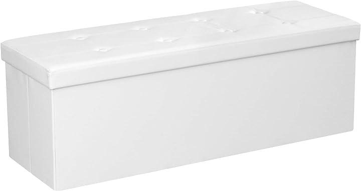 Contenitore ottomano e poggiapiedi, 120 l, bianco, 110 x 38 x 38 cm songmics lsf702