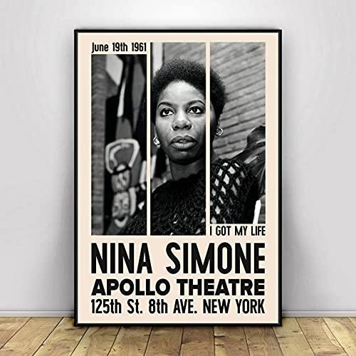 Tiancheng Art Cuadro de Lienzo Póster de Nina Simone, Cantante de música, Estrella, Lienzo, póster, Pintura de Pared, decoración del hogar 60x90cm