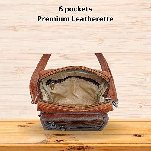 GOLDLINE Leatherette Sling Messenger Crossbody Bag for Men & Women/Multipurpose 3L High-Capacity Leatherette Sling Bag with Adjustable Shoulder Strap/6 Pocket Leather Shoulder Bag(16 x 8 x 22 cm, Tan)