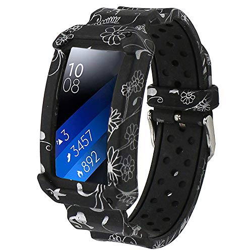 Veczom Bands for Gear Fit 2/ Gear Fit 2 Pro, Sport Bracelet Wristband Fitness Scratch-resistant Case Band Compatible with Samsung Gear Fit2 Pro, Gear Fit2 Watch (Silver Flower)