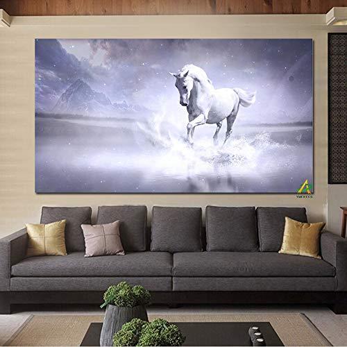Weißes Pferd läuft im Fluss Leinwand Malerei Digitaldrucke auf Leinwand Wandkunst Bild Wohnzimmer Home Decor 60x120CM