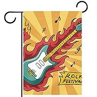 ウェルカムガーデンフラッグ(28x40in)両面垂直ヤード屋外装飾,ミュージカルギターロック