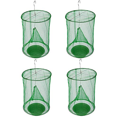 Ranch Fly Trap with Bait Tray Flay Catcher Reusable Fly Catcher Cage for Indoor or Outdoor Family...