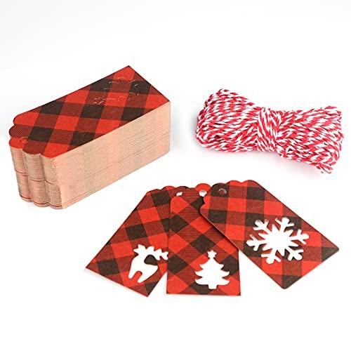 G2PLUS 150 PCS Tag di Natale Etichette Regalo Natalizie Kraft,Etichette in Carta Kraft,4.5x5.5CM Tag Regalo con filo 20M per decorazioni natalizie fai da te